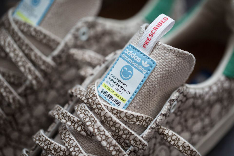 The shoe itself is made of natural hemp, printed to look like 'nugs' of  dried cannabis, with a label on the tongue that looks like a medical  cannabis ...