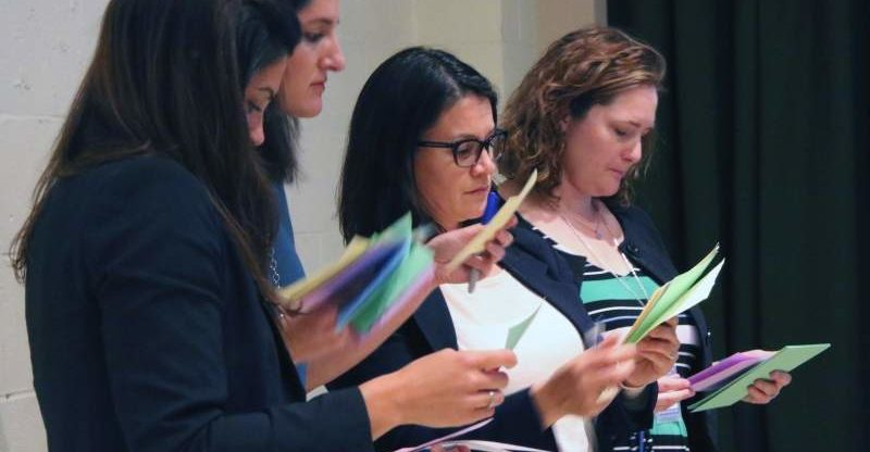 County employees review questions posed by audience members heather irwin/PD