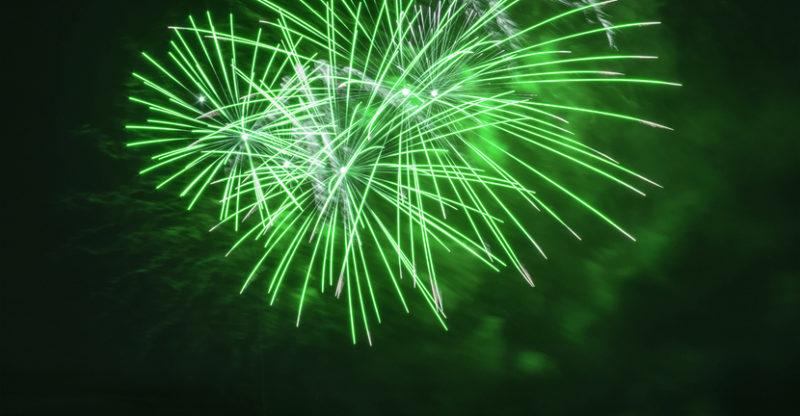 Green fireworks for recreational marijuana.