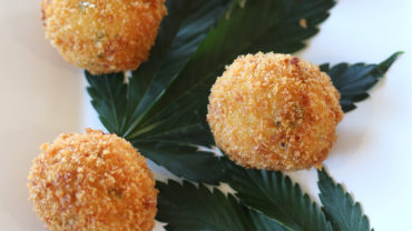 Chicken croquettes at the Sonoma Cannabis Company's wine and weed dinner in Sonoma County, Sonoma Heather Irwin/PD